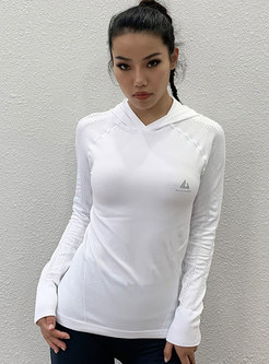 Hooded Long Sleeve Tight Sports Top