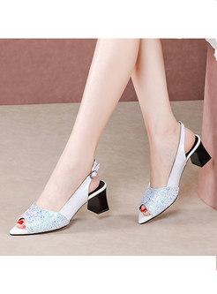 Open Toe Rhinestone Chunky Heel Sandals