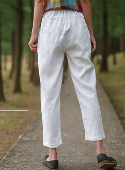 High Waisted Drawstring Straight Pants