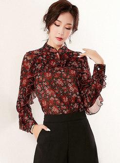Mandarin Collar Floral Chiffon Blouse