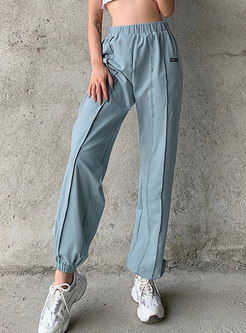 High Waisted Casual Solid Color Joggers