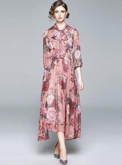 Puff Sleeve Print Big Hem Maxi Dress
