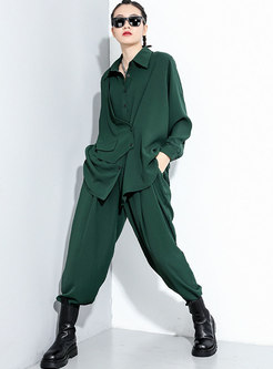 Lapel Long Sleeve Loose Wide Leg Pant Suits
