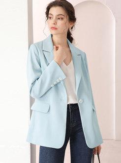 Blue Long Sleeve Slim Office Blazer