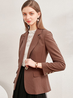 Long Sleeve Solid Color Slim Office Blazer