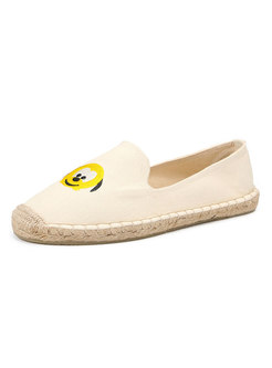 Rounded Toe Cartoon Embroidered Espadrilles