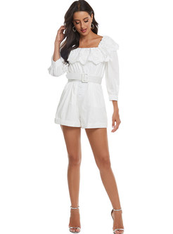 Lace Patchwork High Waisted Belted Rompers