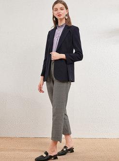 Notched Long Sleeve Slim Office Blazer
