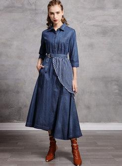 Turn Down Collar A Line Denim Patchwork Dress
