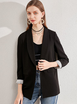 Black Notched Office Blazer With One Button