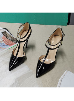 Pointed Toe Non-slip Patent Leather Pumps