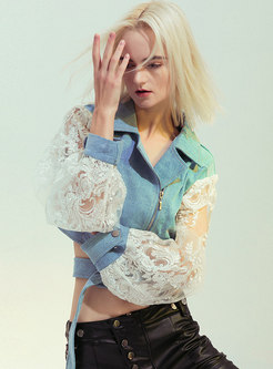 Lace Openwork Patchwork Cropped Denim Jacket