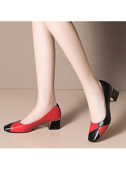 Color-blocked Square Toe Chunky Heel Shoes