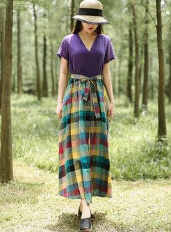 V-neck High Waisted Patchwork Plaid Maxi Dress