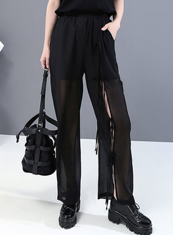 High Waisted Transparent Straight Pants