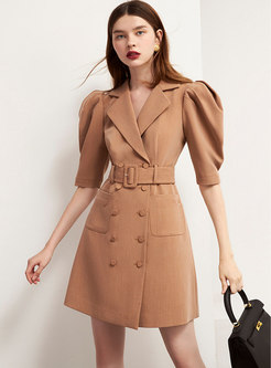 Puff Sleeve Backless Mini Blazer Dress