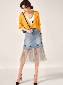 High Waisted Denim Patchwork Mesh Skirt
