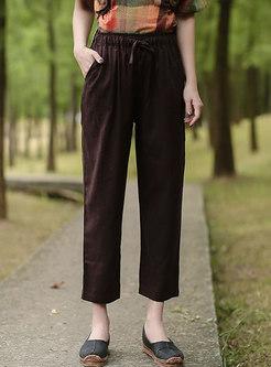 Elastic Waist Drawstring Straight Linen Pants