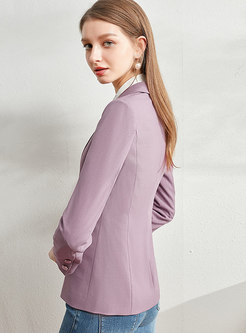 Long Sleeve Slim Blazer With One Button