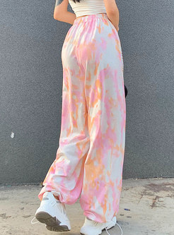 High Waisted Tie Dye Casual Straight Pants