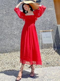 Red Puff Sleeve Big Hem Beach Maxi Dress