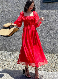 Red Puff Sleeve Big Hem Beach Maxi Dress