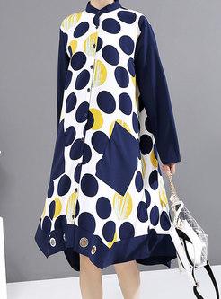 Polka Dot Patchwork Shift Shirt Dress
