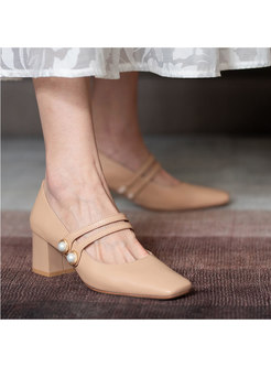 Square Toe Chunky Heel Low-fronted Shoes