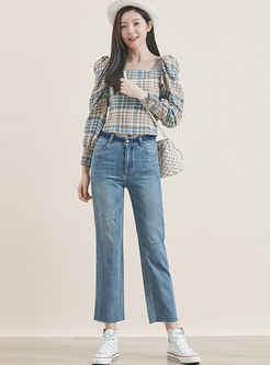 Blue Denim Straight Cropped Pants
