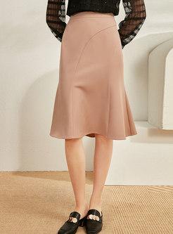 High Waisted Knee-length Peplum Skirt