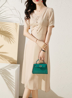 Solid Color High Waisted A Line Midi Dress