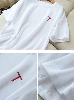 White Crew Neck Pullover Loose T-shirt
