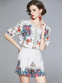 Lace Patchwork Print Pullover Short Pant Suits