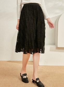 Black Elastic Waist A Line Lace Skirt