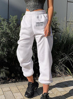 High Waisted Letter Print Casual Joggers