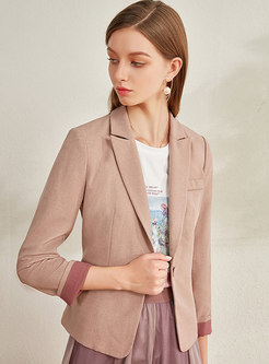 Color-blocked Notched Slim Office Blazer