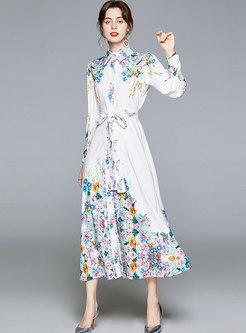 Long Sleeve Print Tie-Waist Maxi Dress