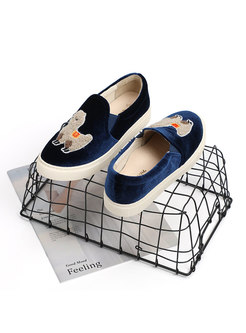 Rounded Toe Animal Pattern Casual Flats