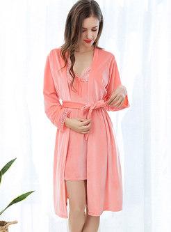 Velvet Long Sleeve Nightgown Robe Set