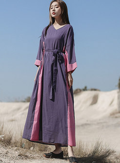 Color-blocked V-neck Linen Maxi Dress
