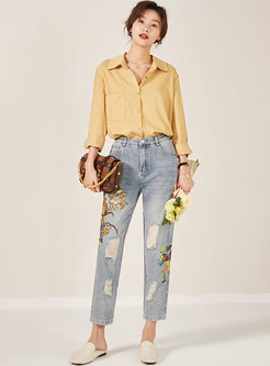 Embroidered Denim Ripped Straight Pants