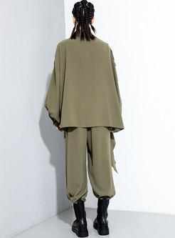 Bat Sleeve Ruffle Loose Wide Leg Pant Suits
