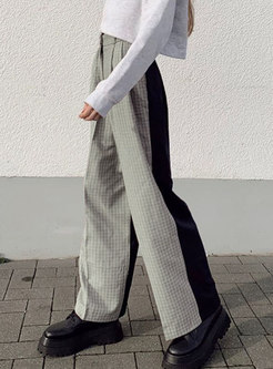 High Waisted Plaid Patchwork Palazzo Pants