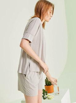 Solid Color V-neck Shorts Pajama Set