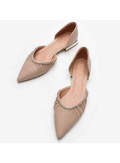 Pointed Toe Rhinestone Low-fronted Flats
