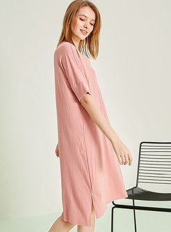 Solid Color V-neck Split Nightgowns