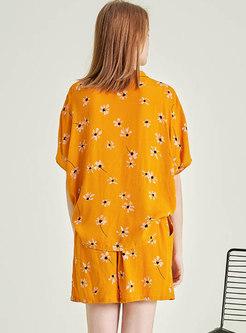 Floral Elastic Waist Shorts Pajama Set