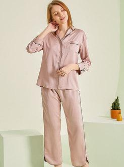 Solid Color Long Sleeve Capri Pant Pajama Set