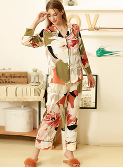 Floral Button Down Long Sleeve Pajama Set