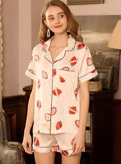 Strawberry Print Button Down Shorts Pajama Set